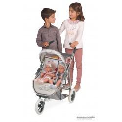 Carro de Muñecas Plegable Gemelar Reborn De Cuevas Toys 90331 | De Cuevas Toys